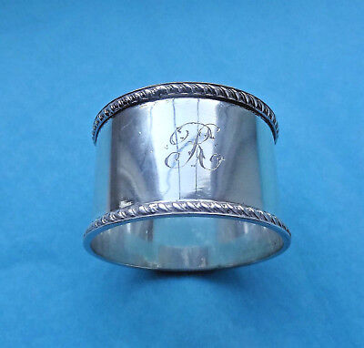 """Vintage STERLING SILVER NAPKIN RING - Sheffield - Henry Atkin - Initial """"R"""""""