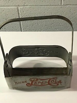 Vintage Pepsi:cola Double Dot Metal 6 Pack Carrier Bottle Holder Advertising