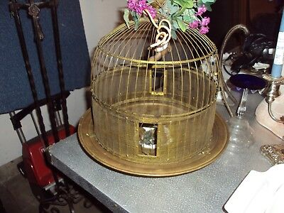 """VINTAGE Hendryx Brass Domed Globe Bird Cage Beehive 17"""" Tall 14"""" Wide"""