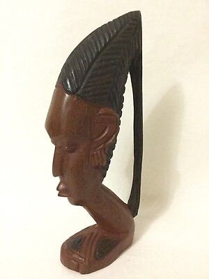 Vintage Carved African Tribal Woman Head Bust Statue Dark Wood