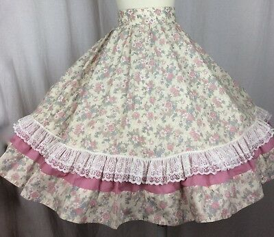 SquareDance Skirt Vintage Ivory Floral Rose Trim & Lace Back Zipper