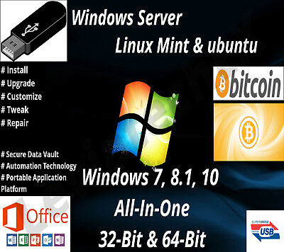 Windows 7,8.1,10 USB Flash Drive 32 & 64 Bit Install Upgrade Recovery & More