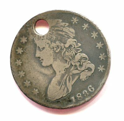 1836 CAPPED BUST HALF DOLLAR lettered edge HOLED
