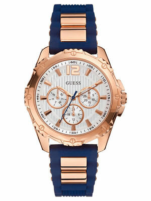 New Guess Blue Silicon Rose Gold Tone Multi Dial Ladies Watch U0325L8