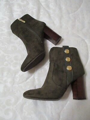 28abcfa06ca62 ... TOMMY HILFIGER DOMAIN Faux Suede Ankle Boots OLIVE 8.5 M Block Heel  Almond Toe clearance prices . ...