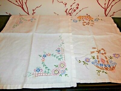 TWO PRETTY VINTAGE WHITE IRISH LINEN with EMBROIDERY TRAY CLOTHS