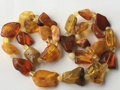 Natural Antique Baltic Vintage Amber OLD BUTTERSCOTCH  BEADS Necklace 50 gr!