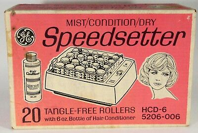 Vintage GE SpeedSetter Hair Rollers Mist Condition Dry Sealed Box HCD-6