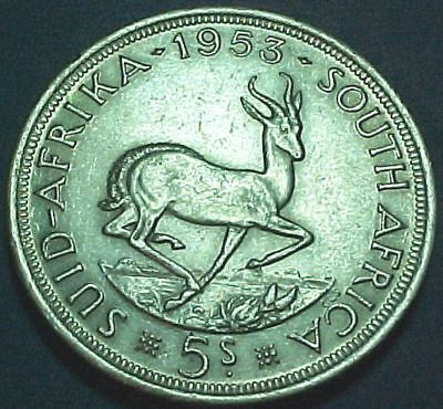 South Africa Suid-Afika - 1953 - 5 Five Shillings - Nice Large Silver Coin