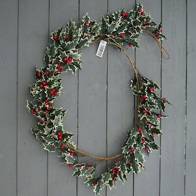 Artificial Holly and Berry Christmas Garland - 5ft - Realistic Festive Floral