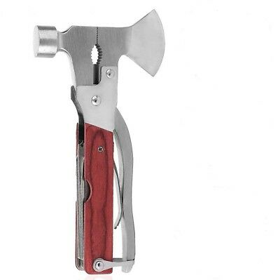 Axe Head Multi Function Tool Hammer Saw Screw Driver Camping Fishing 12 in 1