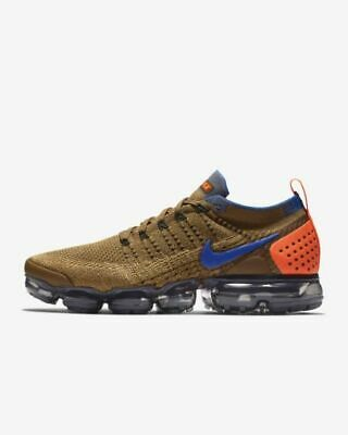 Nike Air VaporMax Flyknit 2 Running Shoe Golden Beige/Gold/Racer Blue 942842-203