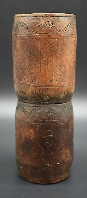 Papa New Guinean wooden tribal decorated pot C. 19th century AD