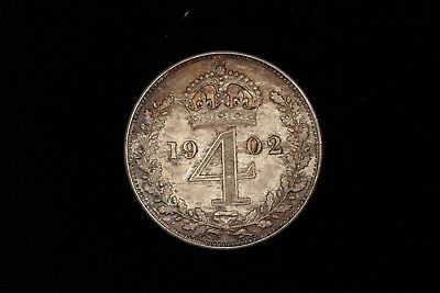 1902 Great Britain Four 4 Pence 1902 toned silver coin Edward VII