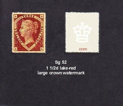 Sg 52  Queen Victoria 1870 1 1/2d Lake-red  (forgery)