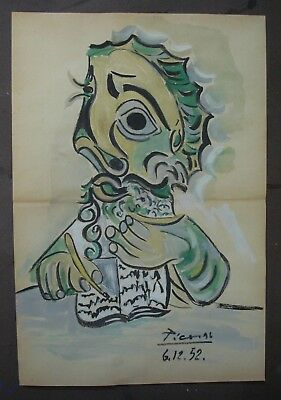 PABLO PICASSO        DRAWING SIGNED  WATERCOLOR ON ORIGINAL PAPER OF THE 50s