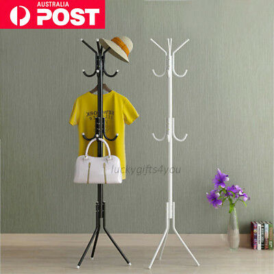 11 Hook Coat Hanger Stand 3-Tier Hat Clothes Rack Metal Tree Style Storage I