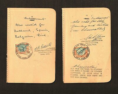 1 x South Africa and 1 Suid-Afrika revenue stamps on passport pages, 1949, 1952.