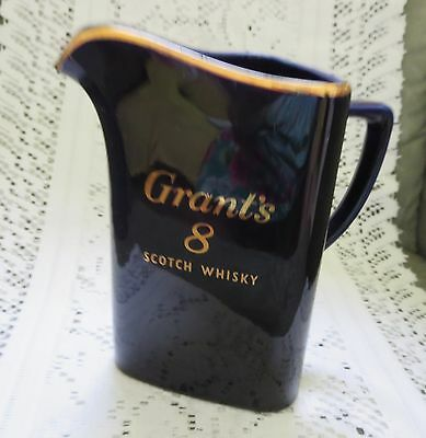 Grants 8 Scotch Whiskey Pitcher~Ice Lip~Gold Accents~Made In Great Britiain~Nice
