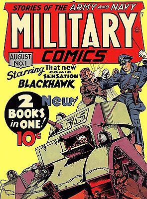 Military Comics #1 Photocopy Comic Book, 1st Blackhawk