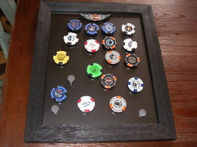 Poker Chip Collectors Set Black Display Frame w free Harley Davidson Chip Large