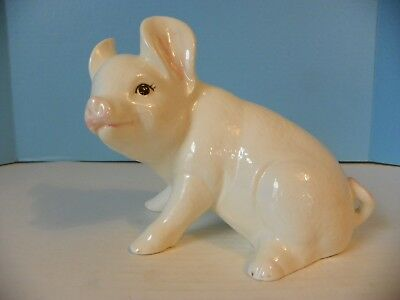 Ceramic Pig Figurine White with Pink Ears
