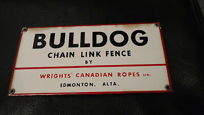 Bulldog Fence 3 Colors Porcelain English Advertising Sign Rare Canadian