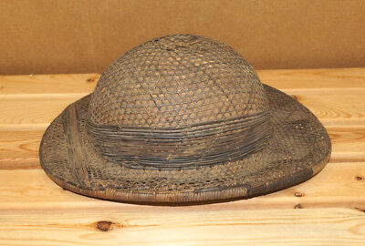Antique Hand Woven Pith Helmet Vintage Safari Jungle Hat Very Very Old