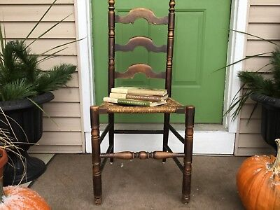 Vintage ladder back chair wood rush rope seat old wooden chair farmhouse chair