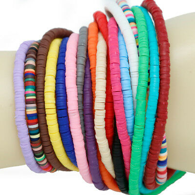 400Pcs Polymer Clay Beads Jewelry Making Mix Color Slices Beads Bracelet Charm