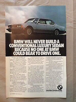 1978 BMW Magazine Ad BMW will never build a conventional luxary sedan