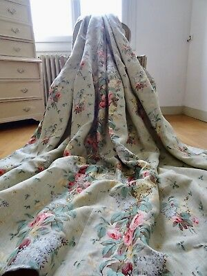 """GP & J BAKER CURTAINS shabby COTTAGE chic 'LILAC & ROSE"""" Linen CHINTZ interlined"""