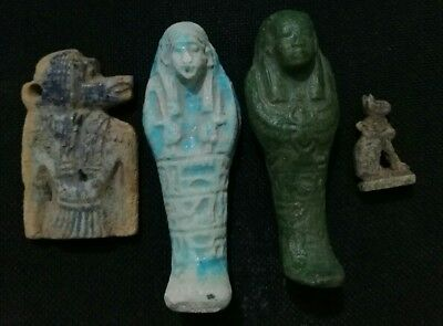 antique Egyptian amulet collection ushabti bastet baboon