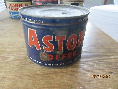Old Antique Farm House Find Vintage astor Coffee Advertising Tin Can