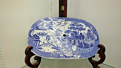 Antique English Meat Oval Platter Drainer Blue Willow Transferware       #36