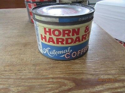 Old Antique Farm House Find Vintage horn & hardart Coffee Advertising Tin Can