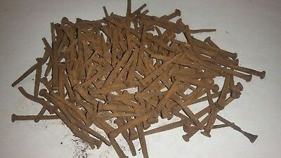 "Vintage 1 1/4"" - 1 1/2"" Square Cut Rose Head Nails (Lot of 150) Early 1800's"