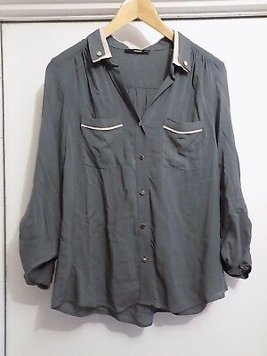 e8e90d0affbd Oasis Size 10 Blouse Shirt Top Grey and Pink Viscose Roll Tab Sleeve Collar