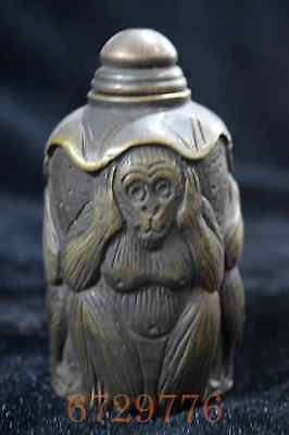 China Collectable Handwork Copper Carve Three Humour Monkey Tibet Snuff Bottle