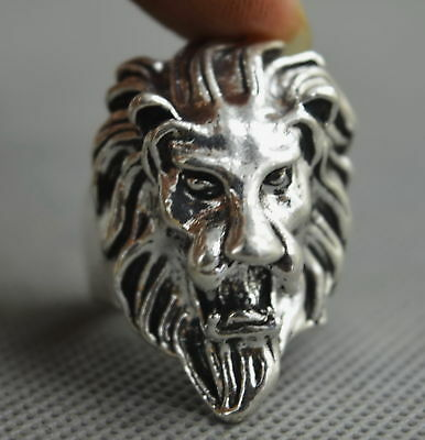 China Collectable Handwork Decorative Miao Silver Carve Lion Head Amulet Ring