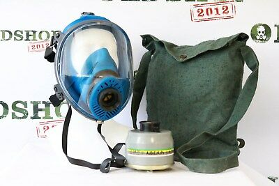 Full Face Gas Mask SPASCIANI TR-2002 CL2 universal size blue with filter & bag