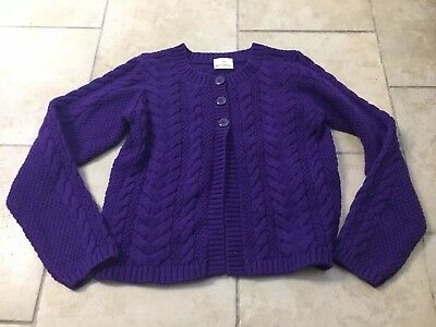 HANNA ANDERSSON Purple Cardigan Cable Sweater, Girls Size 150 (12)