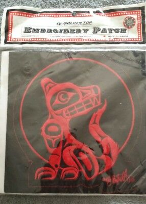 """Wolf Embroidered Patch 8"""" X 8"""" Square Red With Black Background Chinese Martial"""