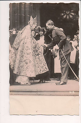Vintage Postcard King Albert I,Queen Elisabeth of Belgium & The Pope