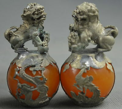 Collectable Handwork Miao Silver Carve Dragon Lion Inlay Agate Old Rare Statue