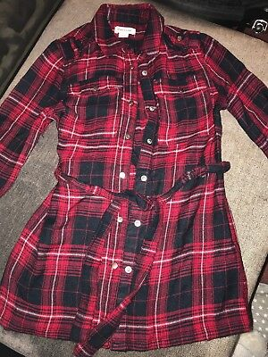 Girls River Island Age 3 Years Long Red Checked Shirt With Waist Belt