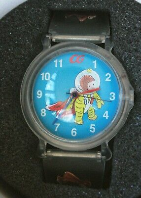 Vtg Curious George in Space Bubble Watch,Learn to Tell Time Box, Fantasma