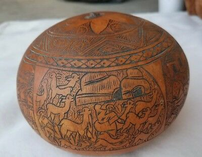 Vintage Peru Intricately Carved Peruvian Gourd- 4 Panels