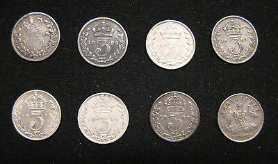 8 Coins Silver Great Britain Three (3)Pence earliest date 1859 latest date 1921