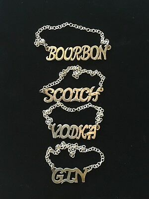 LENORE DOSKOW Sterling Silver LIQUOR BOTTLE LABELS Gin Vodka Scotch Bourbon